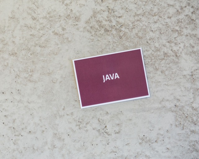 card with java sign